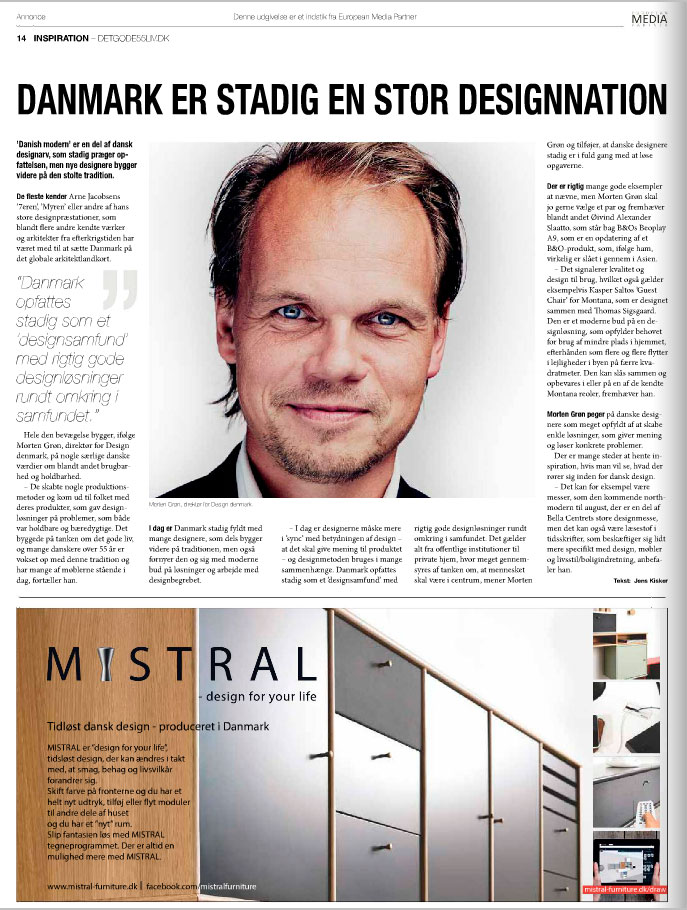 "MISTRAL advertisment in the Danish magasin ""DET GODE 55+ LIV/Børsen"""