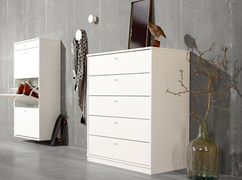 MISTRAL shoe cabinet and chest of drawers.