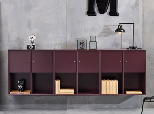 MISTRAL bookcases in bordeaux lacquer.